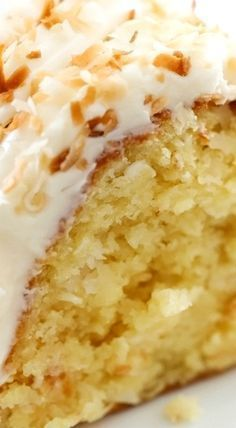 This is an incredibly moist cake loaded with coconut flavor! The Cream Cheese Frosting on top is the perfect pairing. This cake with be loved by all who try it!