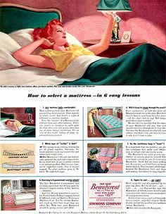 Walter Baumhofer, king of the pulps Furniture Ads, Vintage Furniture, Simmons Beautyrest, One Step Forward, New Builds, Vintage Advertisements, Beach Mat, Outdoor Blanket, Advertising