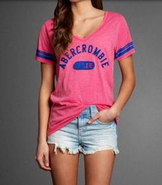 Abercrombie pink and blue sleeve striped tee