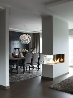 Amazing three sided fireplace.