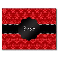 Bride gifts red damask post card