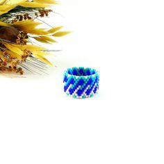 Royal blue ring Twist ring Beaded ring Statement ring Delicate ring Tiny ring Midi ring Blue white ring Fashion ring Cyan blue jewelry by Galiga on Etsy https://www.etsy.com/listing/499557598/royal-blue-ring-twist-ring-beaded-ring