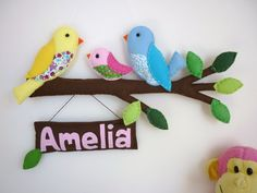 Rainbow Bird Family of 3 - Personalized Felt Wall Hanging / Baby Mobile - $75.00 - MaisieMooNZ Esty - I so want to make something like this for my daughter. <3