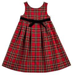 Florence Eiseman Girls Red / Black Christmas Tartan Plaid Dress - Velvet Ribbon