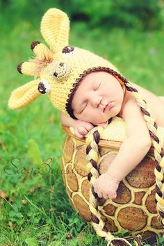 Crochet Giraffe Hat with 3D face, earflaps, braids- PDF Pattern- 5 sizes. $5.50, via Etsy.