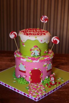 Strawberry Shortcake House cake this cake reminds me of dora my sister bought her a strawberry shortcake cake years ago. Cupcakes, Cupcake Cakes, Pretty Cakes, Beautiful Cakes, Strawberry Shortcake House, Foto Pastel, Cake Design Inspiration, House Cake, Character Cakes