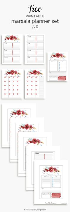 Marsala floral planner inserts in A5 and personal size | day on one page | week on two pages | month on two pages | free printables | #planner #plannerprintable #filofax