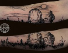 Chris Campbell tattooed one of Stephen Gammell's illustrations from the 'Scary Stories to Tell in the Dark' book series