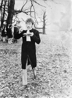 John Lennon on the set of the Strawberry Fields promo film. Sgt Pepper, 1967