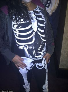 The classic Halloween costume of a skeleton sees one mum add in her own skeleton infant to her outfit