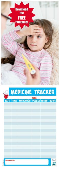 Printable Medicine Tracker - Stay on top of the medicine you're giving to your kids  and share the information with their pediatrician when necessary!