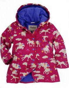 Hatley Girls Rain Jackets: Terry Lining, Waterproof, Snap Front (Prints: Unicorns) Sizes: 6m-24m / $44.99 and 2,3,4,5,6,7,8,10,12 / $49.99 (matching boots $34.99 and matching umbrella $19.99)