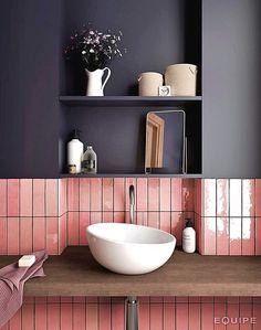Cloe x Ceramic Subway Tile in Pink - Bathroom Design - Cloe x Ceramic Subway Tile in Pink – Bathroom Design – - Bathroom Colors, Bathroom Sets, Bathroom Pink, Small Bathroom, Modern Bathroom, Indian Bathroom, Contemporary Bathrooms, Beautiful Bathrooms, Master Bathroom