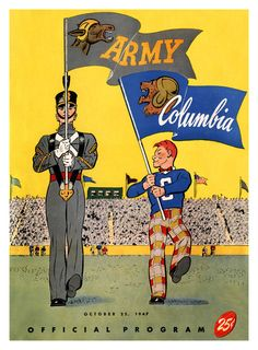 1947 Columbia Lions vs Army Black Knights 22x30 Canvas Historic Football Poster