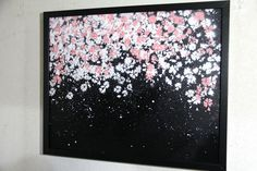 "Spray paint art ""SAKURA""  number B287  size 520mm×425mm  with black mat frame  top glass  painted artist TOMOYA"