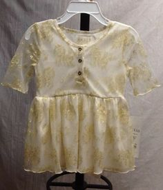 Guess Kids Girls Ivory Dress Metallic Lace Gold Mesh Top Size 3T 3/4 sleeves
