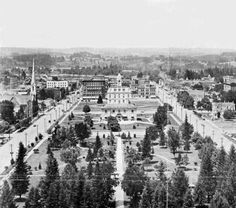 View of Willson Park and downtown Salem, Oregon from Oregon State Capitol building, 1906 :: Special Collections