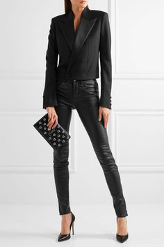 Saint Laurent - Cropped Satin-trimmed Wool-twill Blazer - Black - FR40