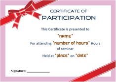 Certificate Of Participation Seminar Templates  Sample