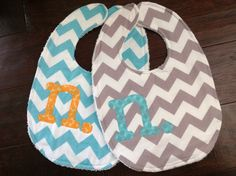 Baby bib with letter monogram by lainabelle on Etsy
