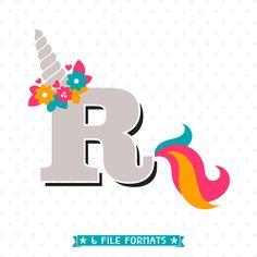 Letter R SVG cut file, Initial Letter SVG, Unicorn SVG, Girls Unicorn Shirt iron on design, Unicorn Monogram svg design, Vinyl shirt design by queenSVGbee on Etsy