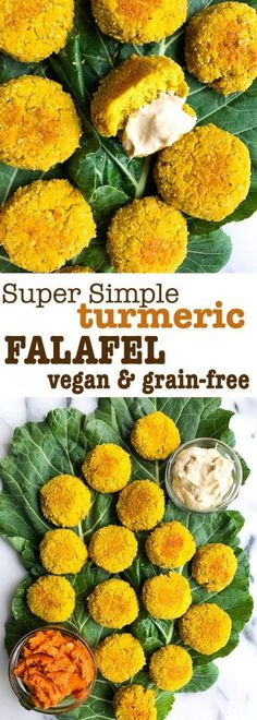 Super Simple Turmeric Falafel (vegan and grain-free) Super Simple Turmeric Falafel! Flourless, vegan and grain free falafel made with easy and delicious ingredients. Such a yummy recipe using turmeric! Vegan Foods, Vegan Vegetarian, Vegetarian Recipes, Healthy Recipes, Healthy Meals, Falafel Vegan, Falafel Recipe, Recipes Using Turmeric, Whole Food Recipes