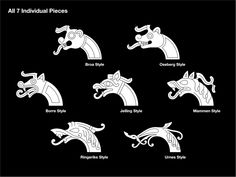 A set of 7 editable vector and Hi-res graphics All the designs are based on the principles and characteristics of the actual Viking Age art styles of ornaments from artefacts f… Viking Rune Tattoo, Norse Tattoo, Viking Tattoos, Viking Dragon Tattoo, Warrior Tattoos, Armor Tattoo, Wiccan Tattoos, Inca Tattoo, Celtic Dragon