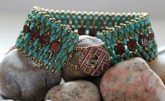 Czechmate Tile and Superduo Cuff Bracelet Bead by ReggiesCreations