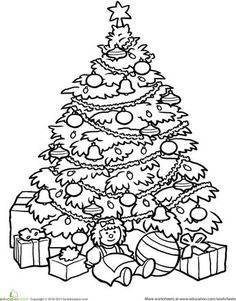 Christmas Second Grade Holiday Worksheets Tree Coloring Page