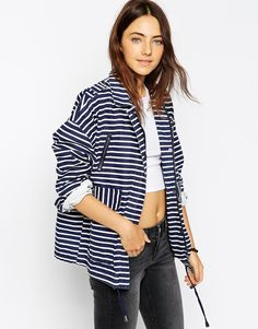 Image 1 of ASOS Jacket with Stripe in Washed Cotton