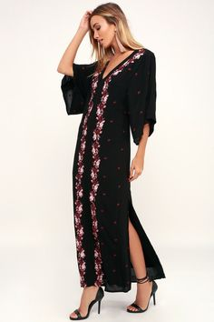 290ba6a1d7 Mona Black Embroidered Kaftan Maxi Dress