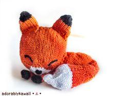 Ravelry: Knit Sleepy Fox Amigurumi pattern by Adorably Kawaii Love Knitting, Baby Knitting, Knitting Patterns, Crochet Patterns, Easy Patterns, Knitting Toys, Diy Tricot Crochet, Knit Or Crochet, Crochet Toys