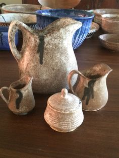McCarty Pitchers and sugar bowl & McCarty Pottery Jade Natchez Pitcher Coffee Cups Square Plate New ...
