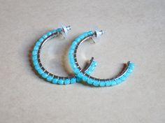 Aqua stone hoop earrings
