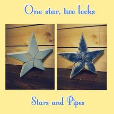 Two ways to showcase your star! #accentpiece #starsandpipes #star #local #homedecor #interiordesign #rustic #love #rusticdecor #homesofinstagram #woodworking #farmhousedecor #reclaimedwood #reclaimed #handmade #woodstars #homedecor #carpentry @starsandpipes
