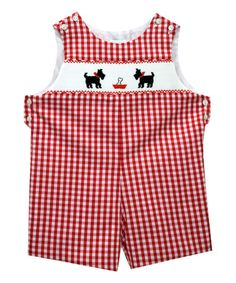 Another great find on #zulily! Red Scotty Dog Smocked Shortalls - Infant & Toddler #zulilyfinds
