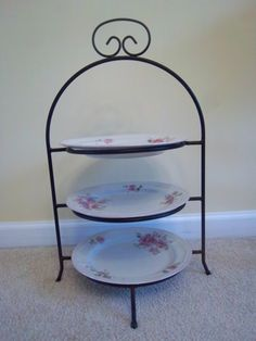 Vintge Black Wrought Iron 3 Tier Cake/Cookie/Pie Stand with Gibson Housewares Roseland & 2-Tier Rose Plate Holder - Victorian Two Tier glass top Serving ...
