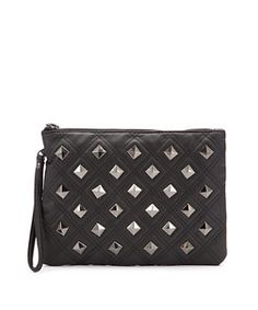 Black (Black) Black Leather-Look Studded Clutch   258158801   New Look  14.99
