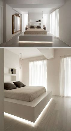 Future Home Interior 9 Examples Of Beds With Hidden Lighting Underneath // A strip of LED lights under this bed frame makes the bed appear to float. Under Bed Lighting, Hidden Lighting, Bed With Led Lights, Bed Lights, Led Light Bed, Night Light, Bedroom Lighting, Bedroom Decor, Led Bedroom Lights