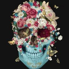 Shop for Skull Flowers Francisco Diamond Painting Kit at Pretty Neat Creative with ✅ Softest canvas, Sparkliest beads ✅ Most Durable Package ✅ WARRANTY. Skull Anatomy, Anatomy Art, Memento Mori, Day Of The Dead Art, Sugar Skull Art, Sugar Skulls, Skull Painting, Painting Collage, Paintings