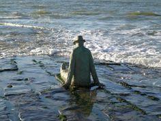 "Knokke Le Zoute  Belgium North Sea  Sculpture by the artist ""Jean-Michel Folon"""