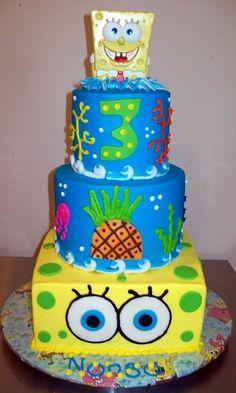 Spongebob Birthday cake Two tiered fondant spongebob cake Used