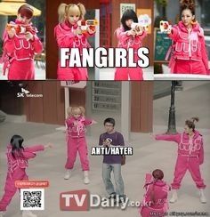 FANGIRLS VS. HATERS This is what I imagine every time I read the comments section on anything related to KPOP or anything really.
