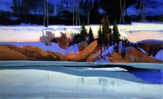 Ice and snow shadows. Stephen Quiller is a master of color and composition.