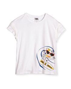 Fringe-Trim Cat Surfing Jersey Tee, White, Size 4-5 - Karl Lagerfeld