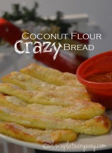 Coconut flour crazy bread--gluten free, grain free. Can be used as a pizza crust or sliced for bread sticks.