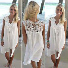 Sexy Womens Summer Casual Chiffon Lace Sleeveless Evening Party Short Mini Dress