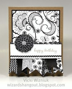 This is all stamped  Card made with Kraft, Black, and White Daisy cardstock, no patterned papers.