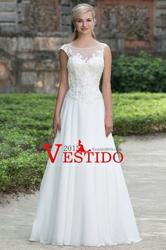 2016 vestidos de boda Bateau V Volver Una l�nea de gasa con apliques de tren capilla