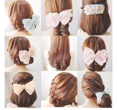 Korean hair styles, cute bows <3